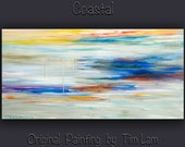 """Original Abstract painting Modern art oil painting Impasto Texture on gallery wrap canvas by Tim Lam 48"""" x 24"""""""