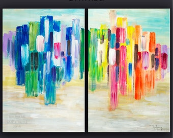 """Huge Art painting original Modern abstract painting Impasto Texture Acrylic Painting on gallery wrap canvas by Tim Lam 48"""" x 36"""""""
