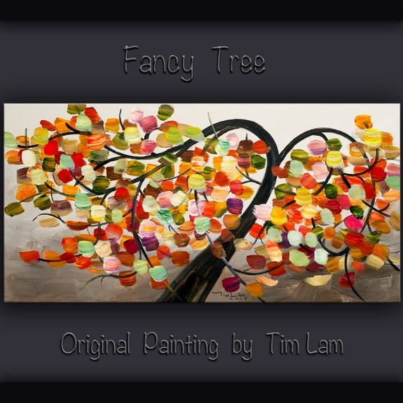 """Spring Tree art Abstract painting 48"""" Cherry Blossom, ORIGINAL Large acrylic painting on canvas  by Tim Lam"""