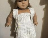 Handmade crochet french ensemble : beret, skirt , vest and bandeau for american girl doll. White set.