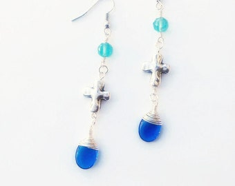 Silver Cross Earrings - Wire Wrapped Glass Earrings - Blue Glass - Aqua Crystal Earrings - Faith Jewelry - Inspirational Earrings