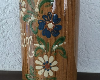 Vintage French Country Pottery Wine Cooler, Brique, Rustic Faux Bois, Flowers, French Script