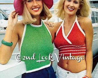 Vintage Knitting Pattern Midriff Halter Bra Top Bikini 1970s Digital Download PDF