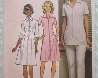 Womens Half-Size Vintage Nurses Uniform/Professional Dress, Tunic and Pants Size 16.5 Bust 39 Waist 33 UNCUT 1970's Simplicity Pattern 5268