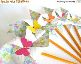 SALE 50% OFF Paper Pinwheels Birthday Favors 12 Twirling Pinwheels Birthday Favors Butterfly Favors  Butterflies Party Decorations Baby Show