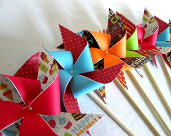 Paper Pinwheels Party Favors Birthday Favors Birthday Decoration Cake Topper Polka Dot Favors Table Centerpiece Party Decoration