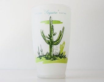 Vintage Blakely Oil Saguaro Cactus Glass