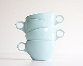 Vintage Mid Century Modern Aqua Melamine Cups