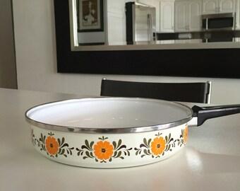 Mid Century Enamelware/ Vintage Cookware/ Retro Flowers/By Gatormom13