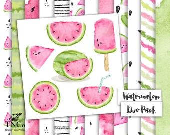 watermelon clipart, watermelon paper, watermelon illustration, fruit paper, pink paper, pink watercolour paper, watercolour clipart,