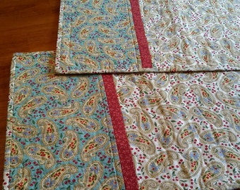 Handmade Quilted Placemats, Set of 8, Shabby Chic Paisley Table Decor, Summer Placemats, Aqua, White, Red Paisley, Quiltsy Handmade