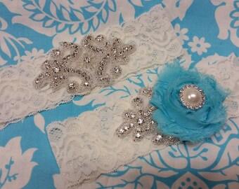 ivory Wedding Garter set  , stretch lace garter, crystal, rhinestone, turquoise flower, pearl