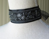 Outlander Inspired Black and Silver Beaded Choker, Georgian Choker, Romantic Jewelry