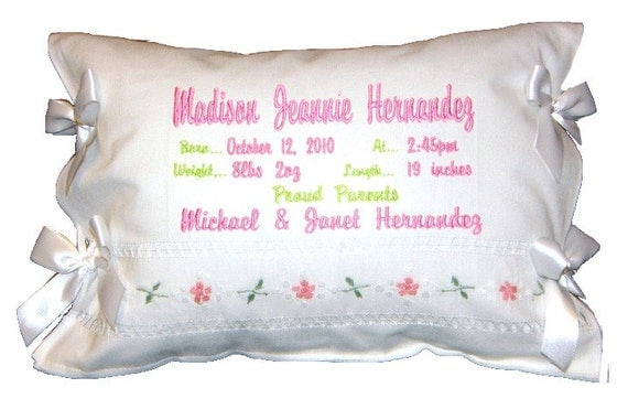 Personalized Birth Certificate Announcement Pillow Linen Embroidered White Satin Bows