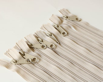 14 inch Long Pull Handbag Zippers 7 pieces in Beige Diaper Bag Zippers, Closed End Zippers, Beige Zippers, Nylon Coil, 14 inch