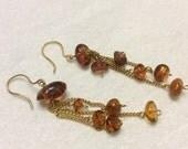 Sale 20 Russian amber Russian makers mark drop dangle earrings.