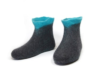 Turquoise Black Felted Boots - Wool Shoes - Womens Shoes - Mix and Match - Valenki Boots - Rubber Soles - Gift for Her - Limpet Shell