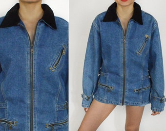 1990's BLUE DENIM Jacket. Slouchy Fit. Black Suede leather Collar. Oversized. 90's GRUNGE. Size Large/L