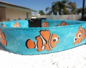 """Disney Nemo Dog Collar in 3/4"""" or 1"""" width Quick Release or Martingale collar adjustable"""