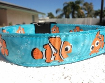 "Sale Disney Nemo Dog Collar in 3/4"" or 1"" width Quick Release or Martingale collar adjustable, incl dogs neck measurement"