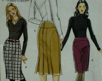 Slimming Fitted Skirt Pattern, Plus Size, Shaped Seams, Back Pleats, Contour Waist, Yoke, Vogue No. 8426 UNCUT Size 18 20 22
