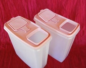 "Set of 2 Vintage Tupperware Super Cereal Storers with Pink ""Strawberry Cream"" seals  Large Tupperware Containers"