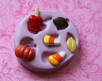 Silicone Mold Pumpkin Candy Corn Candy Apple Autumn Leaf Silicone Mold Polymer Clay Resin Chocolate Fondant Moulds