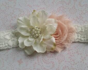 blush shabby chiffon headband-feathers-lace headband,shabby headband,any size,baby flower girl,photo prop