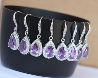 3 set of amythyst earring purple bridesmaid earring bridal party earring