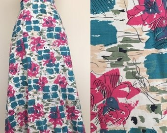 SALE 1950's Floral Print Full Skirt Vintage Full Skirt Retro Pin Up Sz XS by Maeberry Vintage