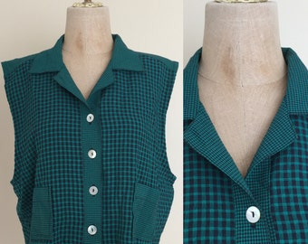 1990's Green Gingham Cropped Top