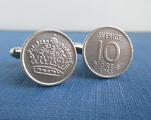 Sweden Cuff Links - 400 Silver 10 Ore Coins, Vintage 1953 Repurposed Coins