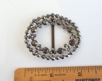 Antique STEEL CUT Buckle - Oval Shape
