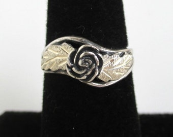 925 Sterling Silver Ring - Rose & Leaf Black Hills, Vintage Unused w/ Tag, Size 5