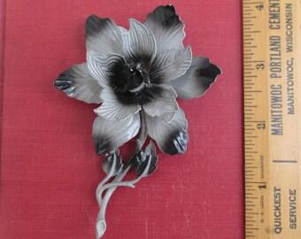 HEDY Enameled Metal Flower Brooch / Pin - Large, Grey & Black