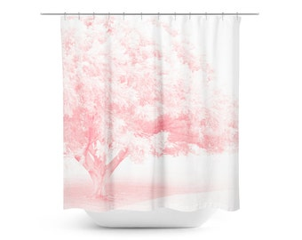 Pink Shower Curtain Etsy - Pale pink shower curtain