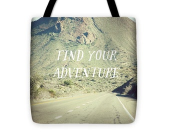 Find Your Adventure - Road Trip Tote - Reusable Grocery Bag - Market Bag - Shopping Bag - Modern Art Tote - Art Tote Bag - Mountain Tote
