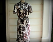 1960's Black and White Belted Dress
