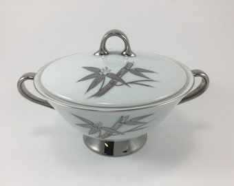 Vintage DeVille Matrimony Pattern Sugar Bowl With Lid Made in Japan Bamboo Flower Platinum