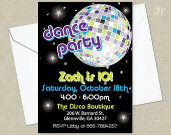 Boys Disco Birthday Party Invitation - Dance Birthday Party Invitation - 80's Birthday Party Invitation - Retro Dance Party Invitation