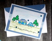 Happy Birthday RV Camping Greeting Card - Handmade Paper Card for Him blue Trailer Cards - Husband Father Son Boyfriend Outdoor Mountain Man