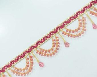Upholstery Pink Trim Craft Sewing Trim Tassel Ribbon Fringe Trim Beaded Trim Supplies Indian Border Lace cBy The Yard FRT490C