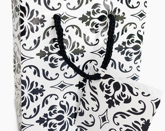 20 Small Black and White Damask Favor and Gift Bags 3 x 2 x 3 1/2 Inches