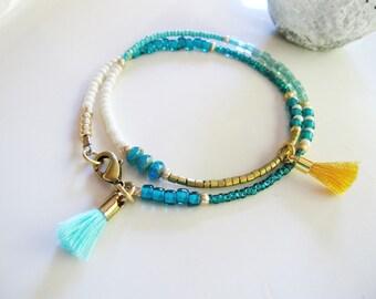 Blue Beaded Friendship Bracelet, Gold Tassel Bracelet, Gold, White Blue, Multi Strand Seed Bead Bracelet, Redpeonycreations