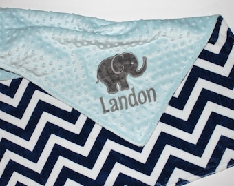 CHOOSE YOUR COLORS Personalized Elephant Double Minky Blanket with Elephant Applique - Navy Chevron, Gray and Light Baby Blue