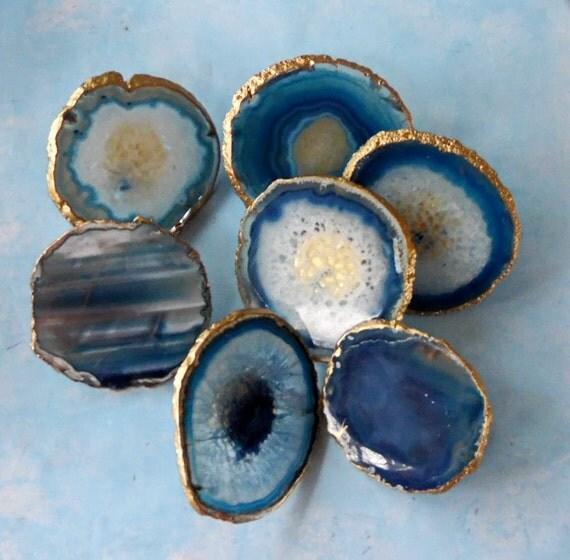 Large 18k Gold Edge Custom Blue Agate Slice Drawer Pulls Knobs