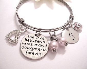 SUPER SALE Mother and Daughter Jewelry, Mother Daughter Bracelet, Mother Daughter Jewelry, The Love Between a Mother and Daughter is Forever