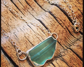 antique mason jar turquoise sea glass sterling silver necklace