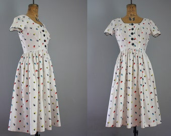 1950s dress / 50s dress / cotton dress medium