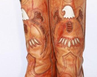 Beautiful vintage Miss Capezio Eagle cutout leather womens cowboy boots 8 M